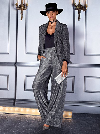 7th Avenue Pant - Metallic Palazzo - New York & Company