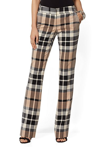 7th Avenue Pant - Mid Rise- Camel Plaid Straight Leg - New York & Company