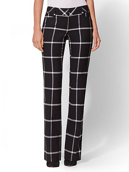 7th Avenue Pant - Mid Rise - Check-Print Bootcut - New York & Company