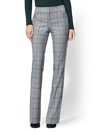 7th Avenue Pant - Mid Rise - Plaid Bootcut - All-Season Stretch - New York & Company