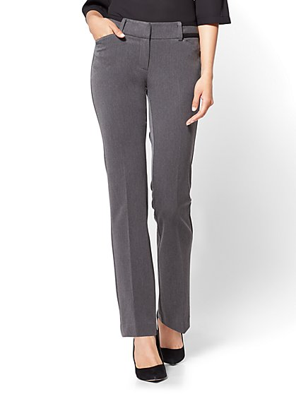 7th Avenue Pant - Mid Rise - Straight Leg - Grey - New York & Company