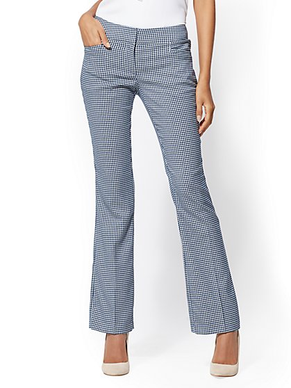 7th Avenue Pant - Mid Rise - Tall Blue Plaid Bootcut - Signature - New York & Company