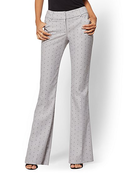 7th Avenue Pant - Mid Rise - Tall Grey Dot Bootcut - Modern - New York & Company