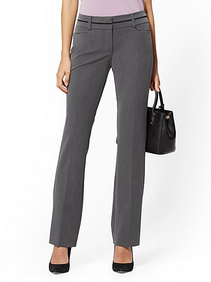 7th Avenue Pant - Mid Rise - Tall Straight-Leg - Grey - New York & Company