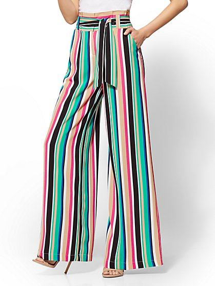 7th Avenue Pant - Multicolor Stripe Palazzo - New York & Company