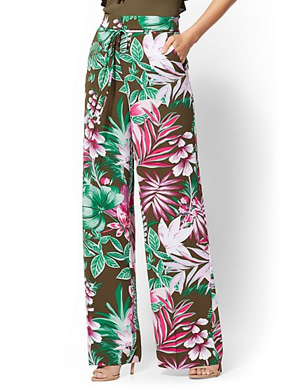 7th Avenue Pant - Olive Floral Palazzo - New York & Company
