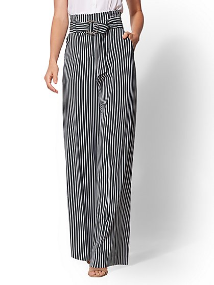 7th Avenue Pant - Paperbag-Waist Palazzo - Green Stripe - New York & Company