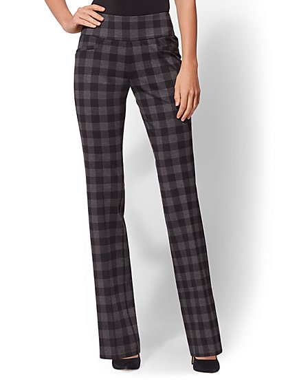 7th Avenue Pant - Petite Black Check Print Bootcut - Pull-On - Ponte - New York & Company