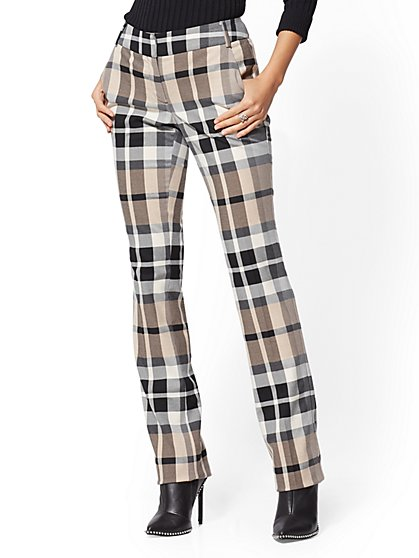 7th Avenue Pant - Petite Camel Plaid Straight Leg - Signature - New York & Company