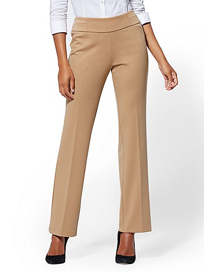 7th Avenue Pant - Petite Camel Pull-On Straight Leg - Ponte - New York & Company