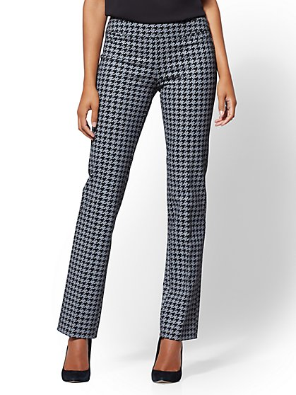 7th Avenue Pant - Petite Houndstooth Pull-On Straight Leg - Signature - Ponte - New York & Company