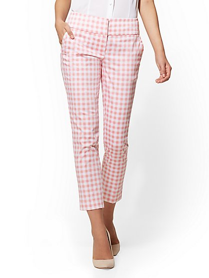 7th Avenue Pant - Pink Gingham Ankle - Modern - New York & Company