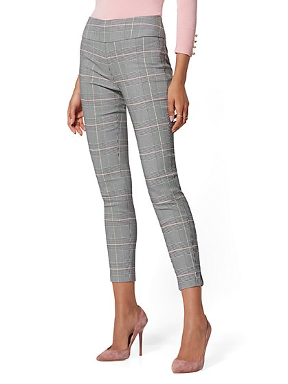 7th Avenue Pant - Pink Plaid High-Waist Pull-On Ankle - New York & Company