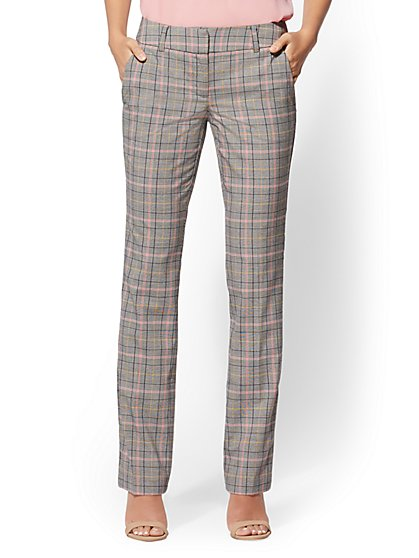 7th Avenue Pant - Pink Plaid - Straight Leg - Signature - New York & Company