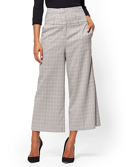 7th Avenue Pant - Plaid Crop Palazzo - New York & Company