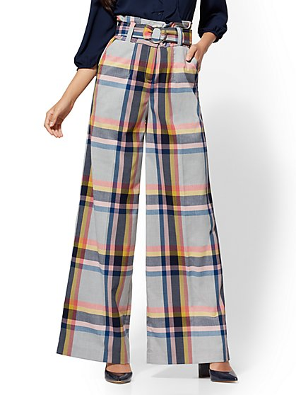 7th Avenue Pant - Plaid Paperbag-Waist Palazzo - New York & Company