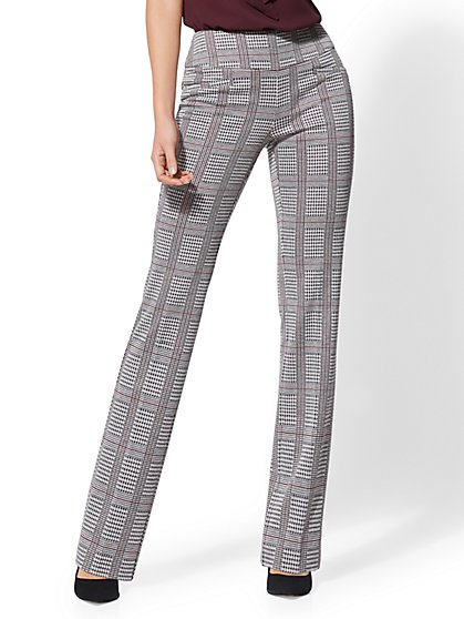 7th Avenue Pant - Plaid Pull-On Bootcut - New York & Company