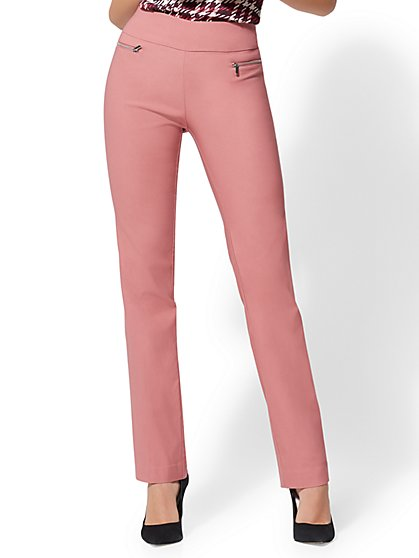 7th avenue pant pull on straight leg zip accent new york