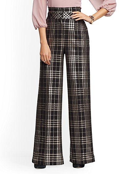 7th Avenue Pant - Tall Black Plaid Metallic Palazzo - New York & Company