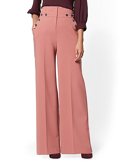7th Avenue Pant - Tall Button-Accent Palazzo - New York & Company