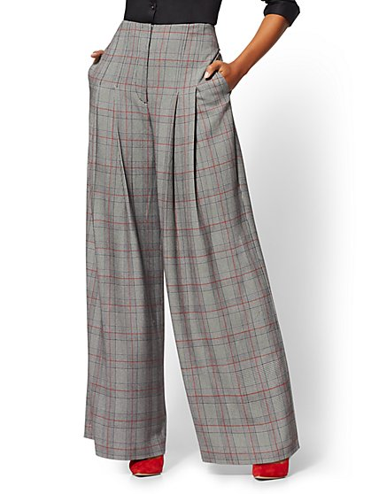 7th Avenue Pant - Tall Plaid High-Waist Palazzo - New York & Company