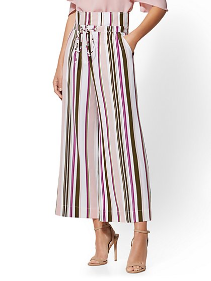 7th Avenue Pant - Tall Stripe Paperbag-Waist Palazzo - New York & Company