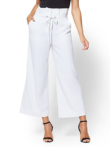 7th Avenue Pant - White Paperbag-Waist Culotte - New York & Company
