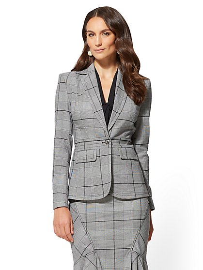 7th Avenue - Petite Black & White Plaid Jacket - New York & Company