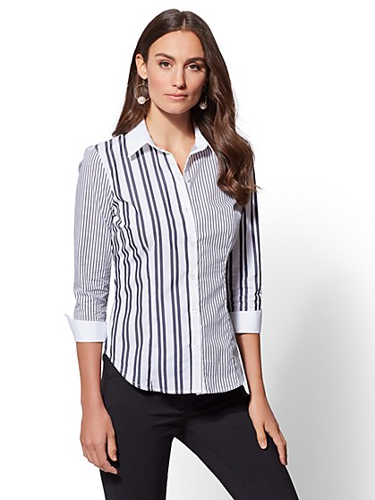 7th Avenue - Petite Blue Mixed-Stripe Madison Stretch Shirt - New York & Company