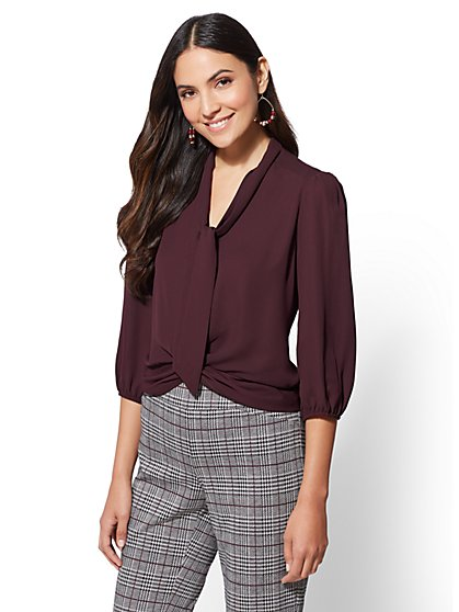 7th Avenue - Petite Bow-Accent Twist-Front Blouse - New York & Company