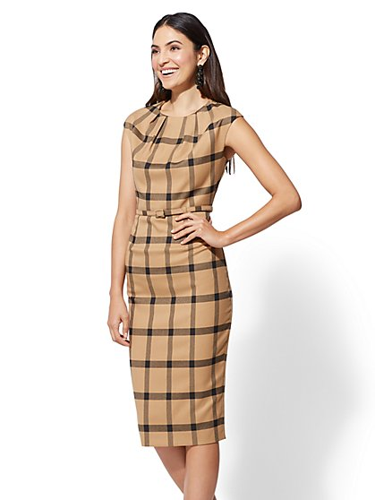 7th Avenue - Petite Camel Plaid Sheath Dress - New York & Company