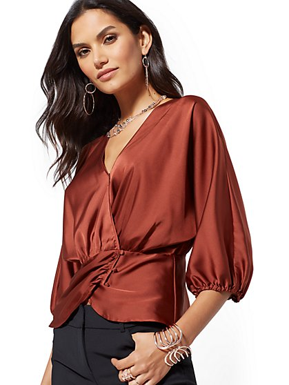 7th Avenue - Petite Dolman Wrap Blouse - New York & Company
