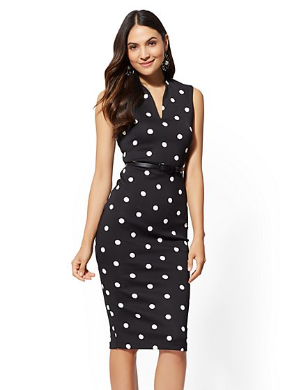 7th Avenue - Petite Dot-Print Sheath Dress - New York & Company