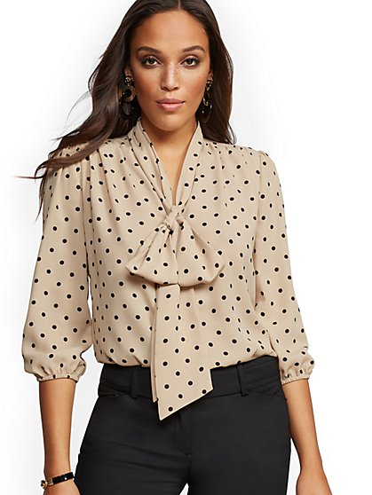 7th Avenue - Petite Dot-Print V-Neck Bow Blouse - New York & Company