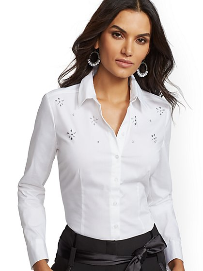 7th Avenue - Petite Faux-Stone Madison Stretch Shirt - New York & Company
