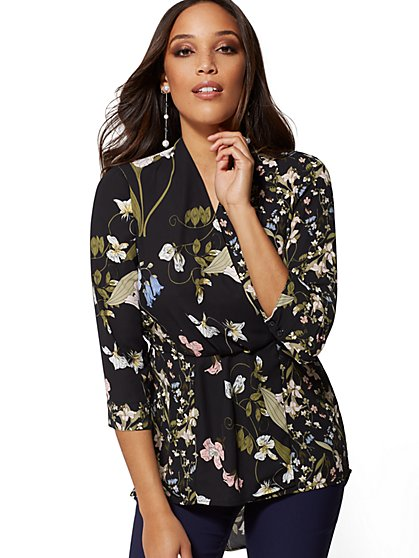 7th Avenue - Petite Floral Hi-Lo V-Neck Wrap Blouse - New York & Company