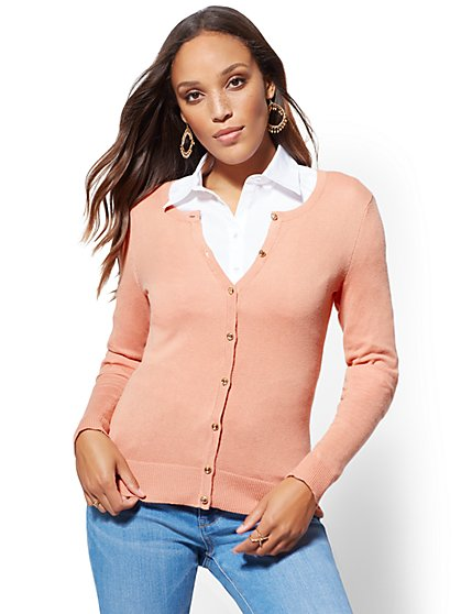 7th Avenue - Petite Jeweled Crewneck Chelsea Cardigan - New York & Company