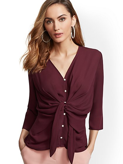 7th Avenue - Petite Jeweled Twist-Front Blouse - New York & Company