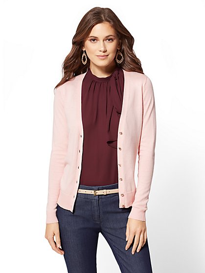 7th Avenue - Petite Jeweled V-Neck Chelsea Cardigan - New York & Company