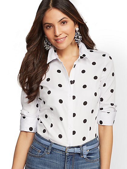 7th Avenue - Petite Madison Stretch Shirt - Dot Print - New York & Company