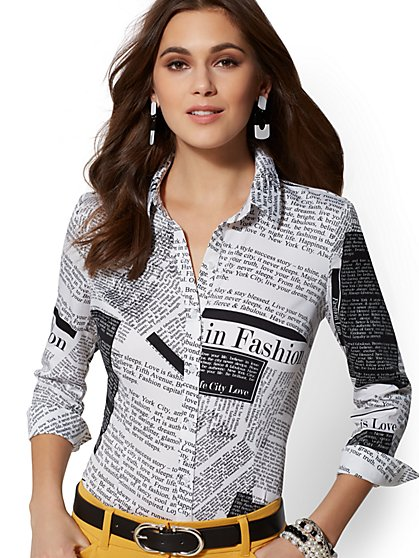 7th Avenue - Petite Madison Stretch Shirt - White Newsprint - New York & Company