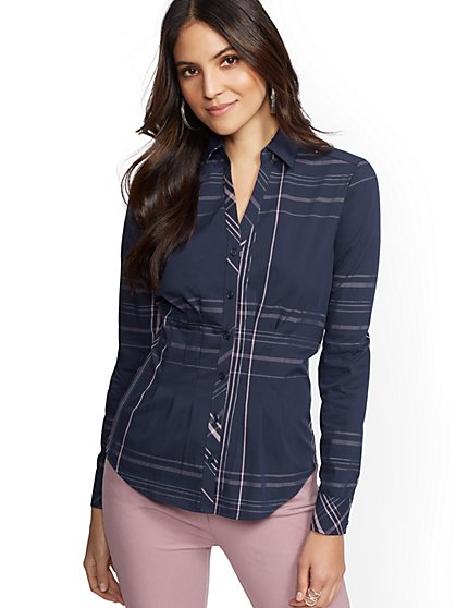 7th Avenue - Petite Metallic Plaid Madison Stretch Shirt - New York & Company