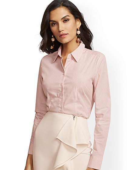 7th Avenue - Petite Metallic Stripe Madison Stretch Shirt - New York & Company