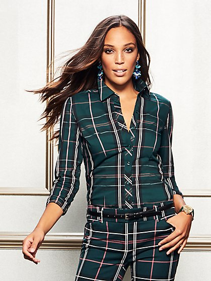7th Avenue - Petite Plaid Madison Stretch Shirt - New York & Company