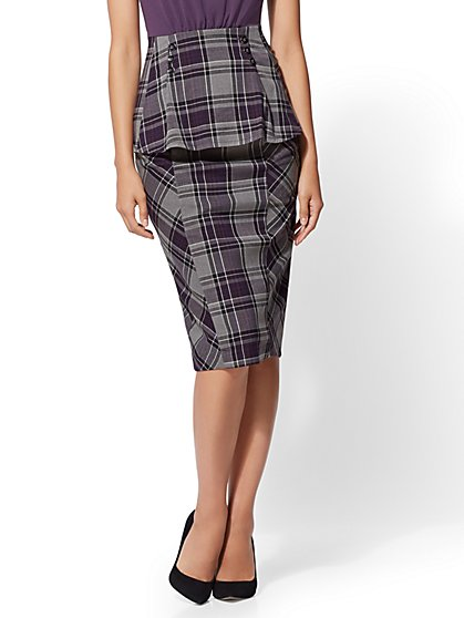 7th Avenue - Petite Plaid Pencil Skirt - New York & Company