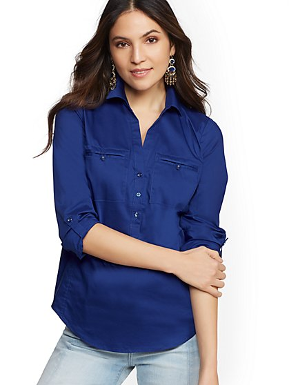 7th Avenue - Petite Popover Madison Stretch Shirt - New York & Company
