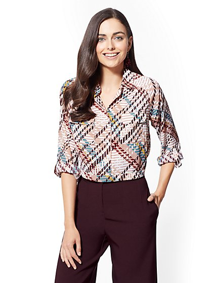 7th Avenue - Petite Print Crop Shirt - New York & Company