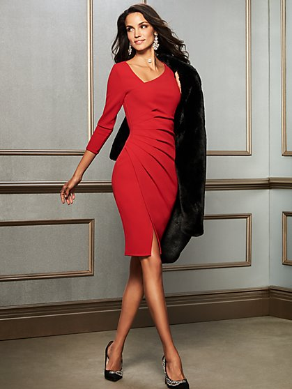 7th Avenue - Petite Red V-Neck Sheath Dress - New York & Company