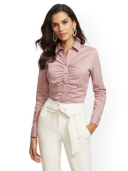 7th Avenue - Petite Shirred Madison Stretch Shirt - New York & Company