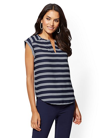 7th Avenue - Petite Stripe Split-Neck Tee - New York & Company